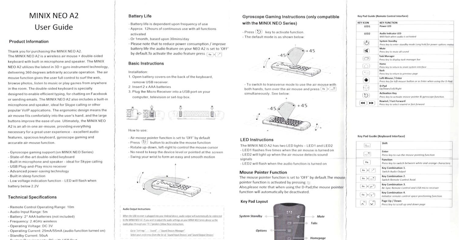 Minix Neo A2 Air Mouse Manualpdf Docdroid Switch That Would Activate Whenever It Got An Audio Input