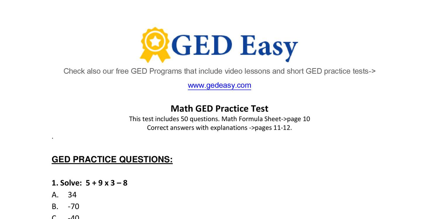 Week 15 Homework Adv Math- printable-ged-math-practice-test2- DO THE ODD  NUMBERS.pdf - DocDroid