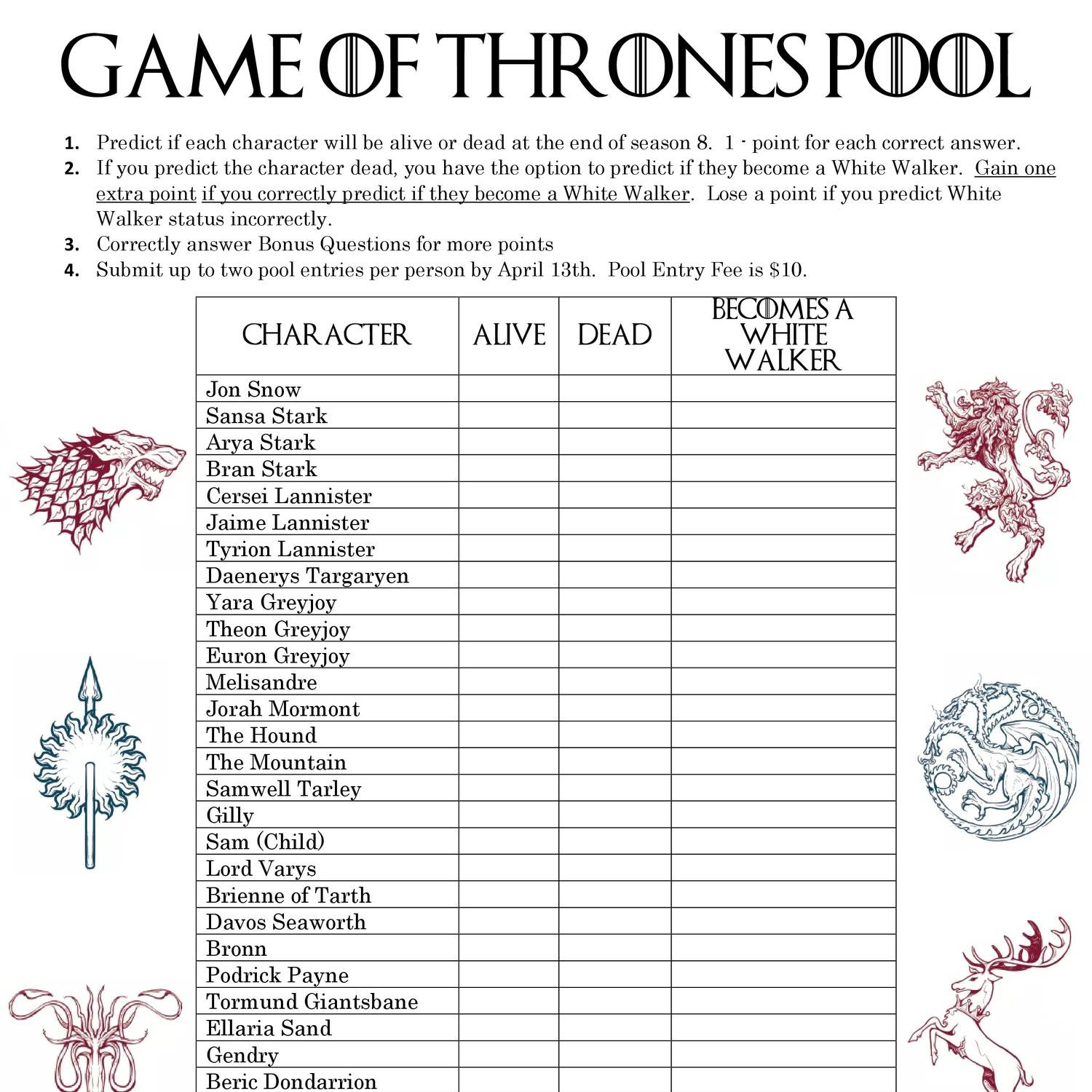 Game Of Thrones Pool