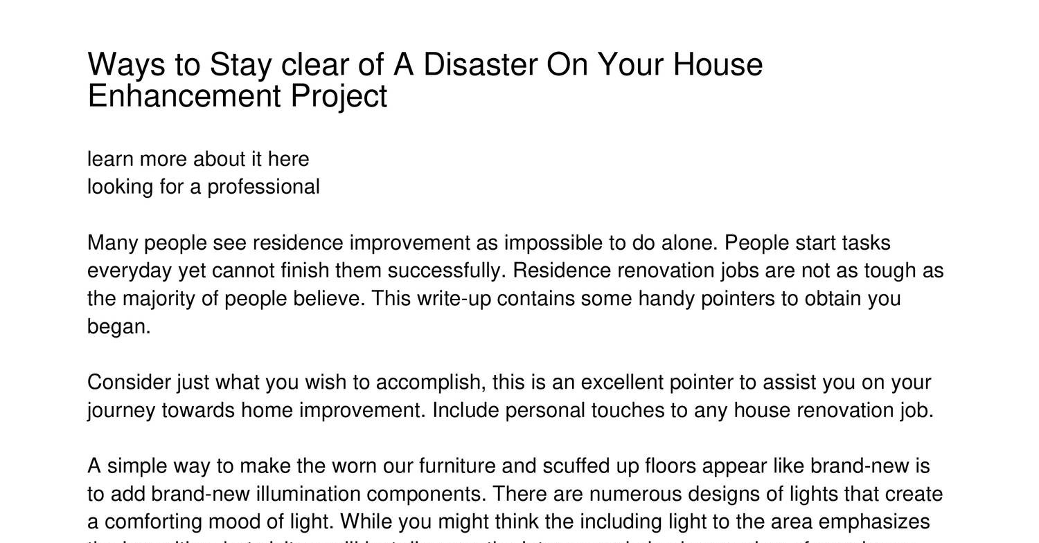 Just How To Avoid A Disaster On Your Home Renovation Projectueazt