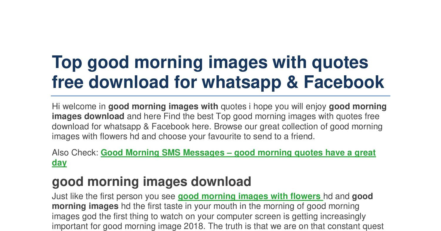 Top Good Morning Images With Quotes Free Download For Whatsapp Pdf Docdroid