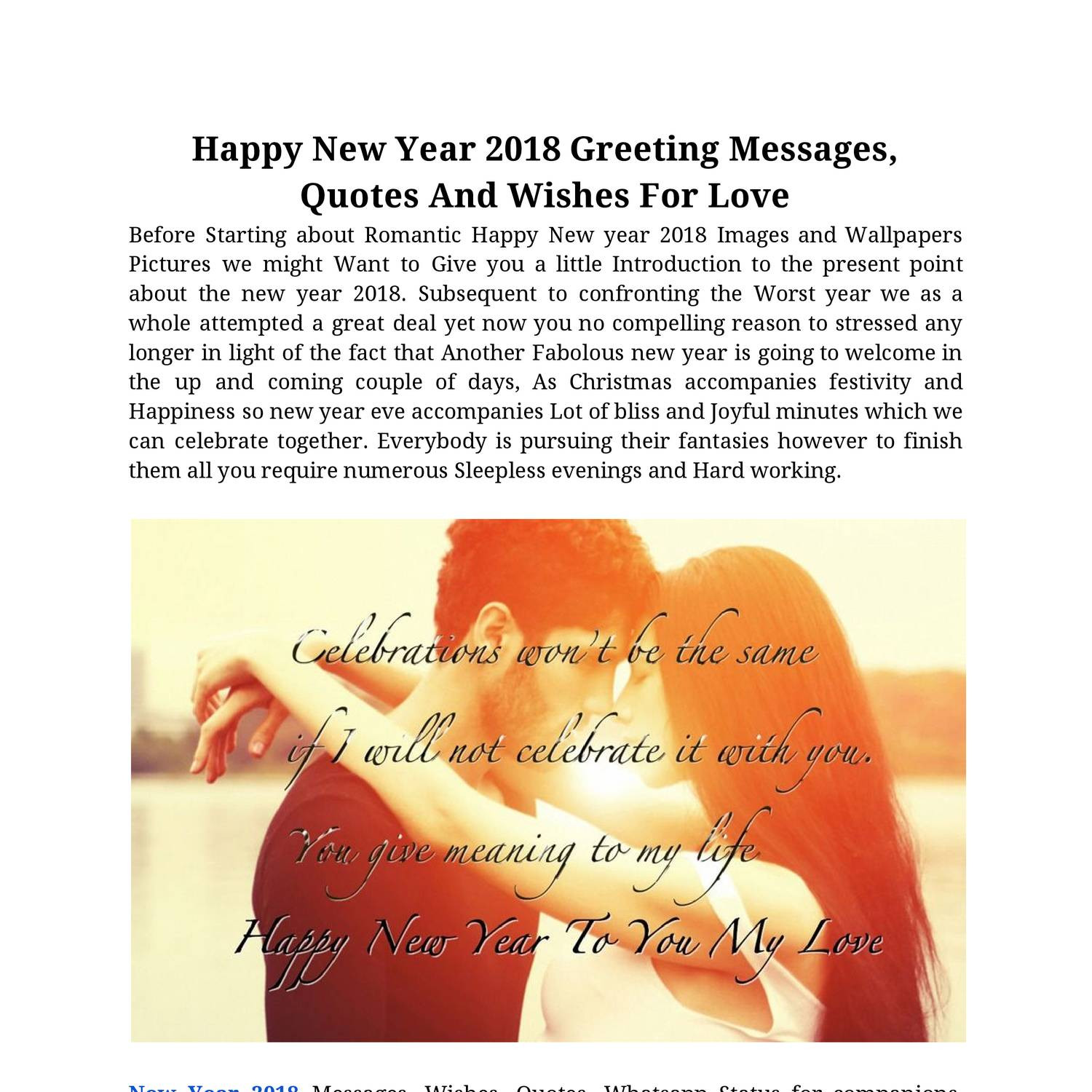 Happy New Year 2018 Greeting Messages Quotes And Wishes For Love Pdf Docdroid