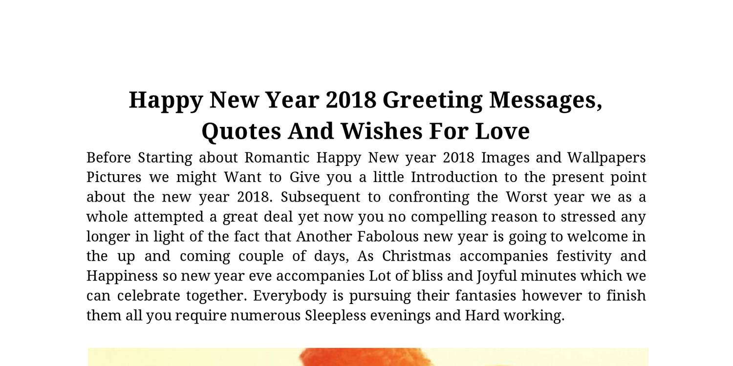 Happy New Year 2018 Greeting Messages Quotes And Wishes For Love