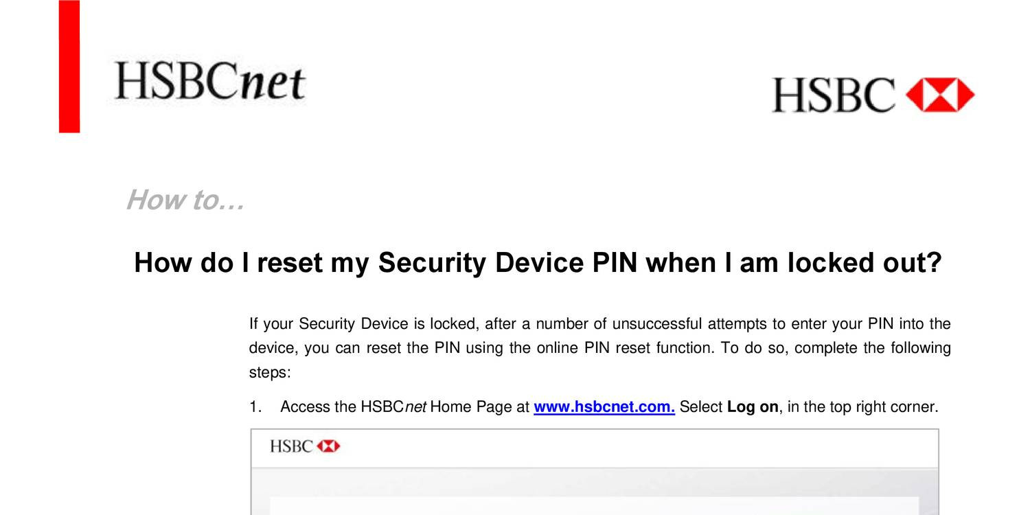 HSBC american bank reset device pin pdf | DocDroid