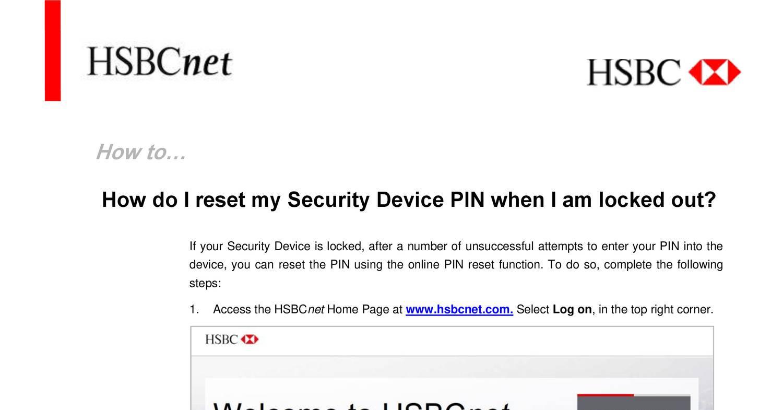 HSBC american bank reset device pin pdf | DocDroid