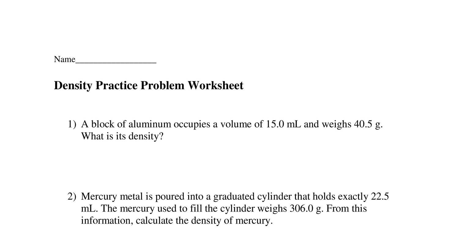 Density Practice Problem Worksheet Promotiontablecovers