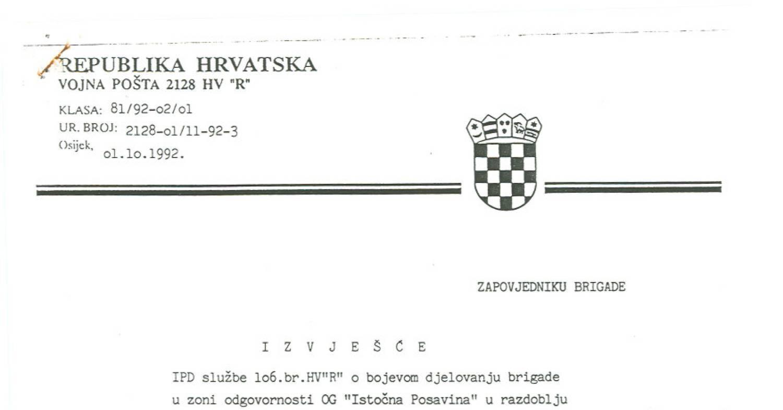 Izvjestaj Hv Sa Bosanskobrodskog Ratista U Sept 1992
