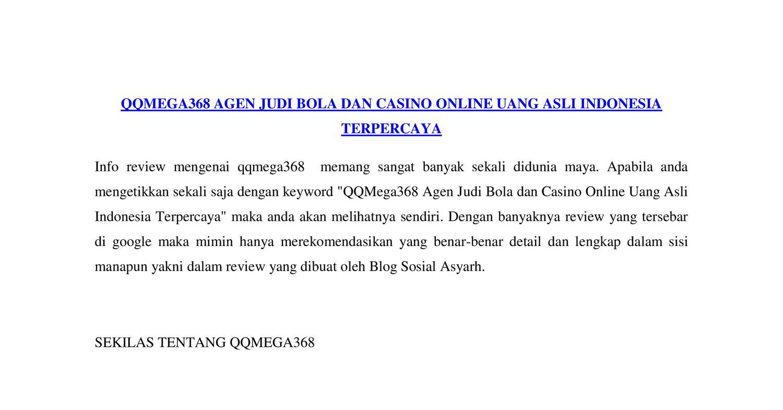 Qqmega368 Agen Judi Bola Dan Casino Online Uang Asli Indonesia Terpercaya Docx Docdroid