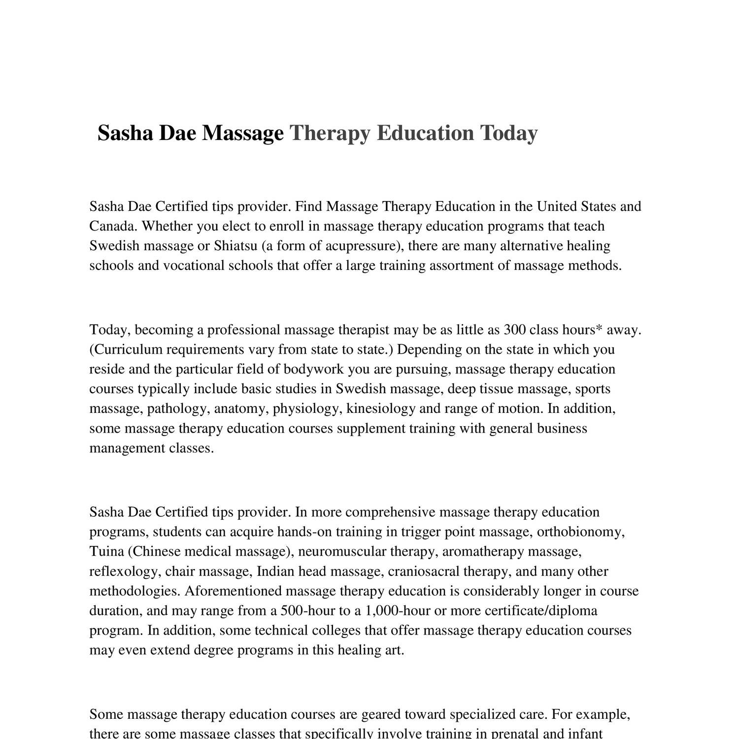 Sasha Dae Massage Therapy Education Todaycx Docdroid