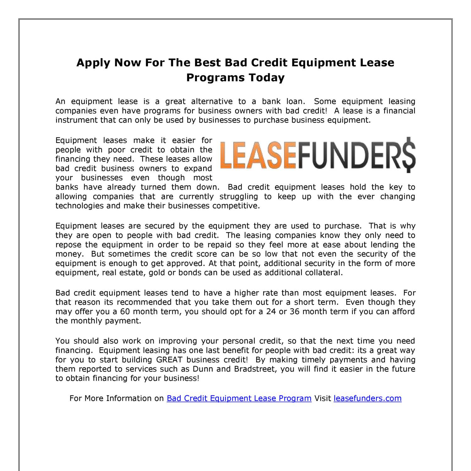 Lease With Bad Credit >> Apply Now For The Best Bad Credit Equipment Lease Programs