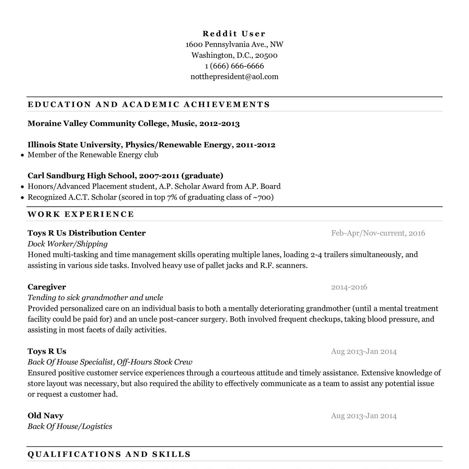Resume Template Redditpdf