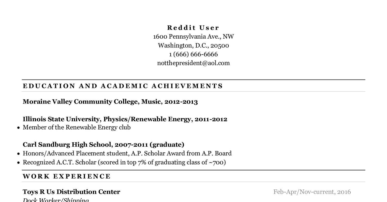 Reddit Resume Template from www.docdroid.net
