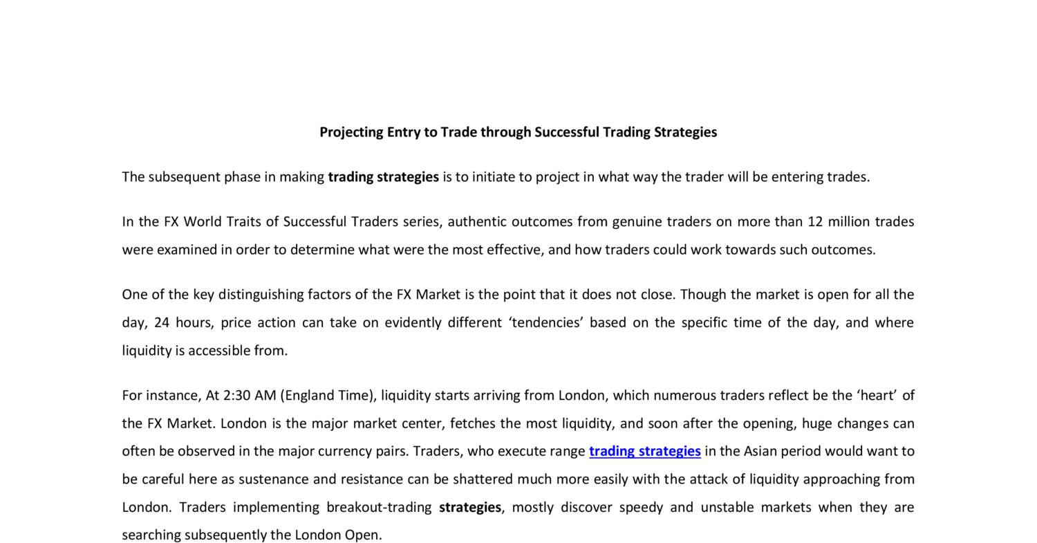 Projecting Entry To Trade Through Successful Trading Strategies Pdf Docdroid