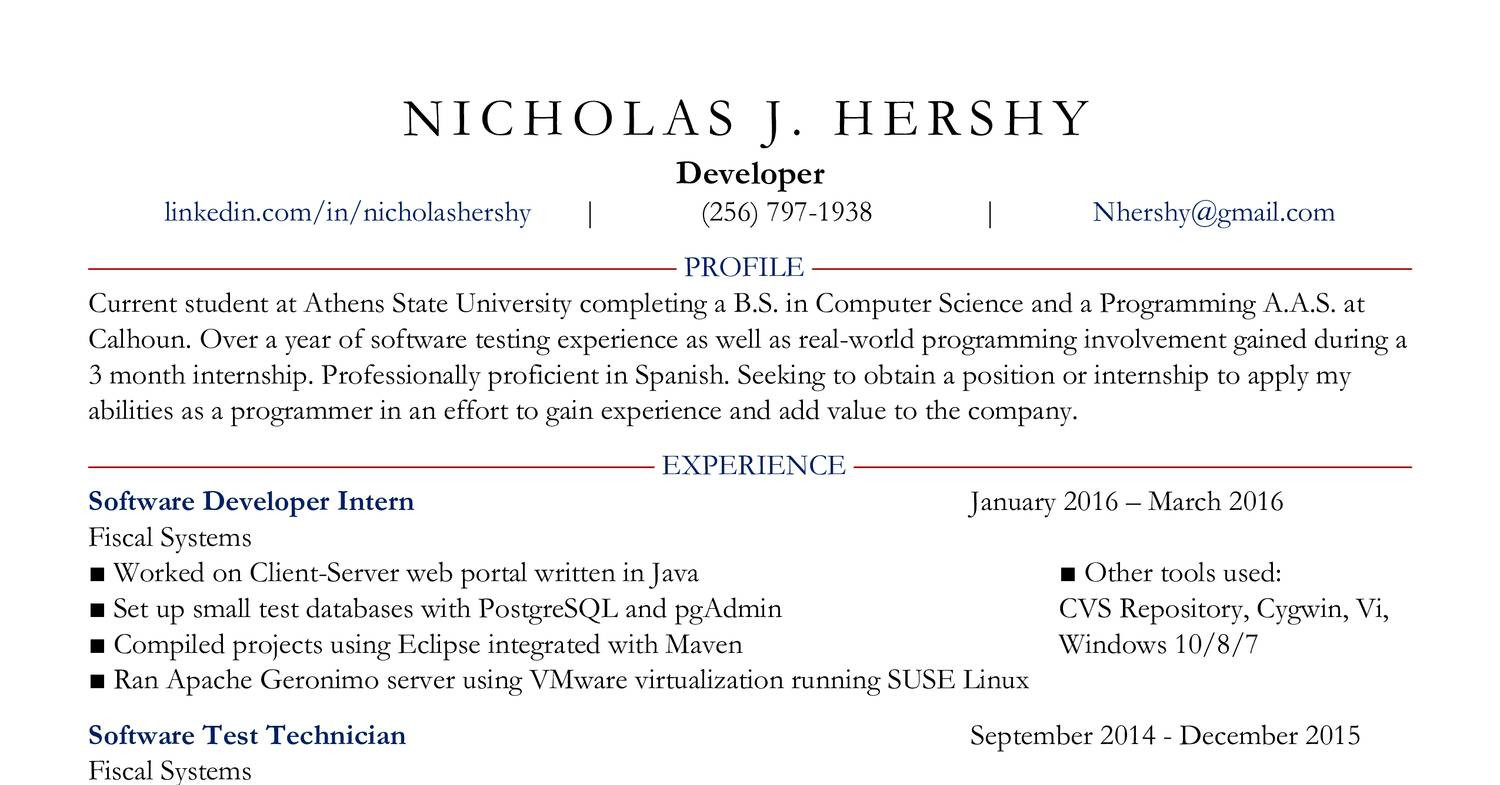 0Resume April 2016 - Nicholas Hershy pdf | DocDroid