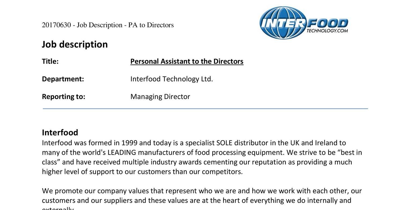 20170630 - Job Description - PA to Directors pdf | DocDroid