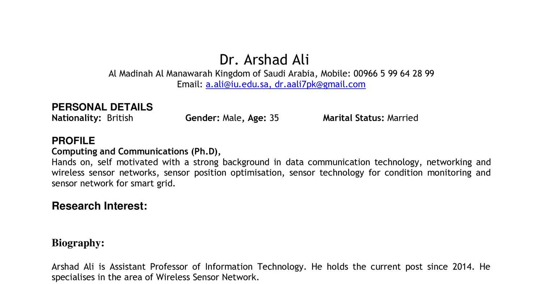 Tolle Probe Lebenslauf Für Assistant Professor Position In ...
