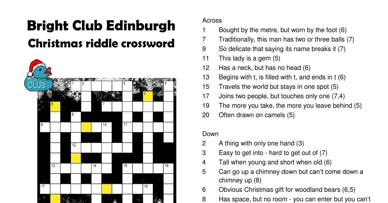 Bright Club Edinburgh Christmas Riddle Crosswordpdf
