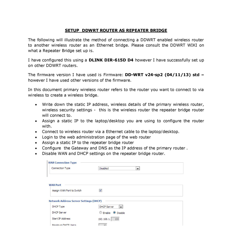 SETUP DDWRT ROUTER AS REPEATER BRIDGE pdf | DocDroid