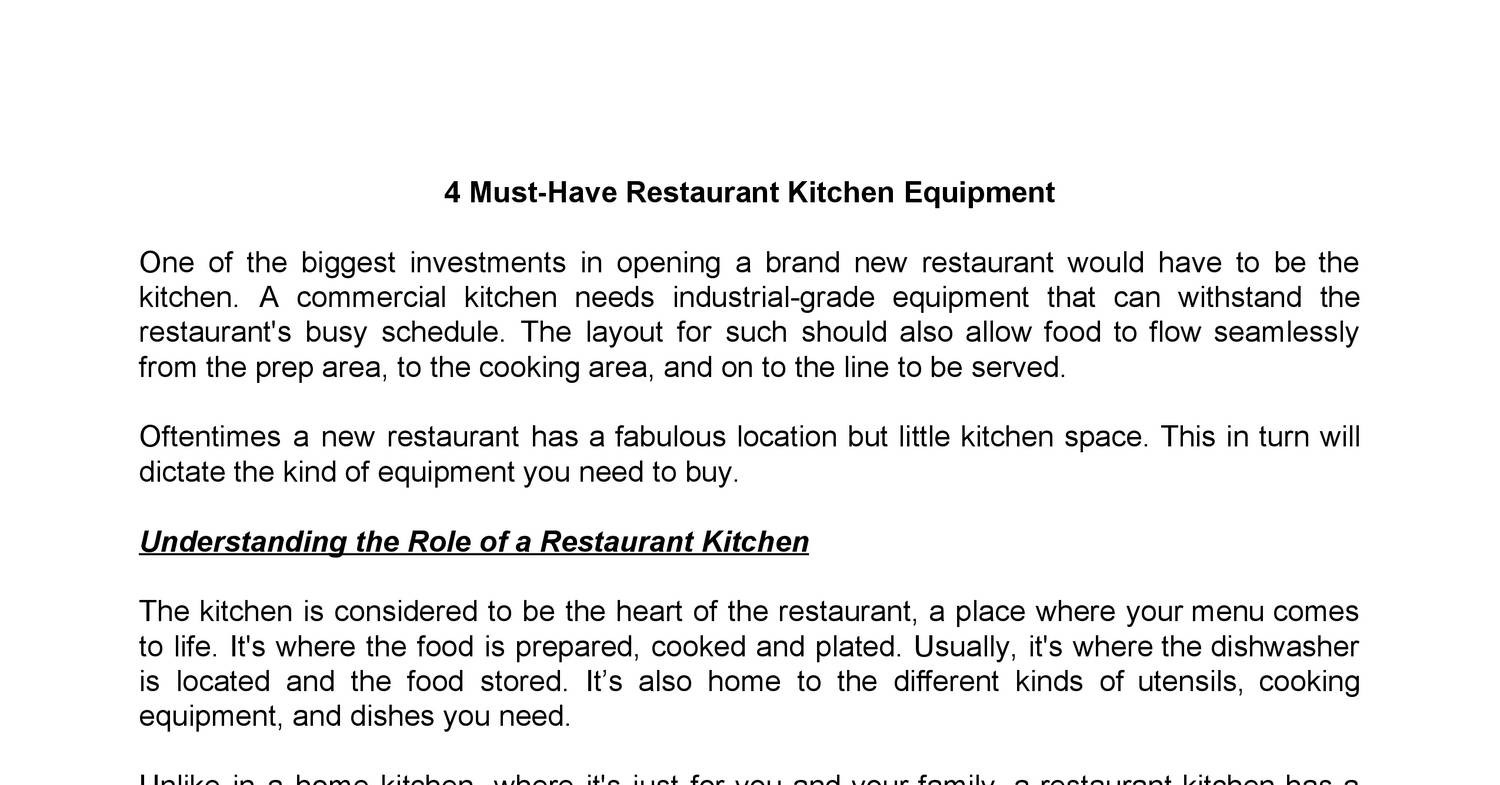 4 Must Have Restaurant Kitchen Equipmentpdf