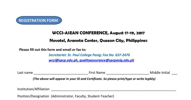 REGISTRATION FORM -WCCI ASEAN CONFERENCE 2017 pdf | DocDroid
