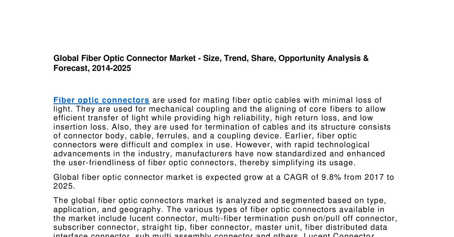 Fiber Optic Connector Market Study, Share, Size Type Chart, Cable ...
