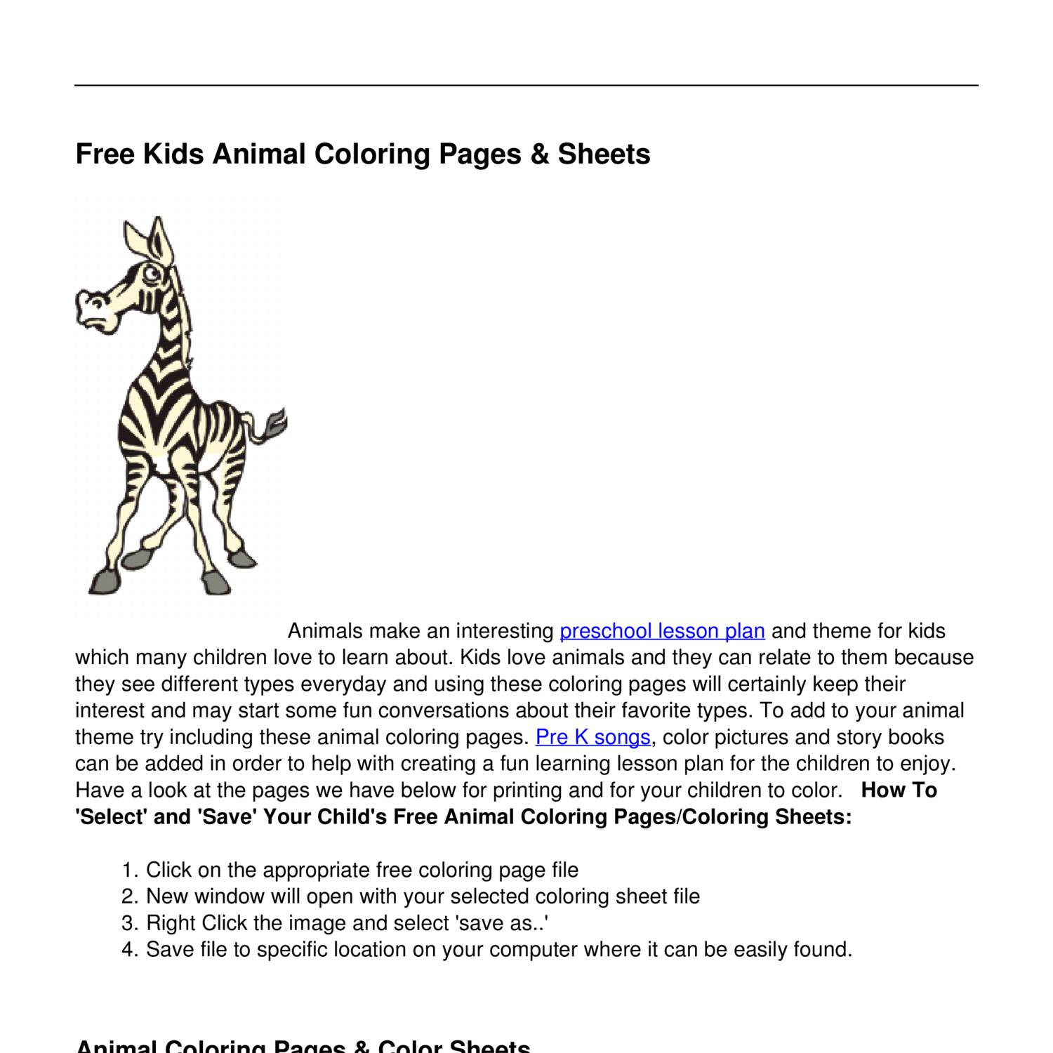 Free Animal Coloring Pages Kids Coloring Sheets Pdf