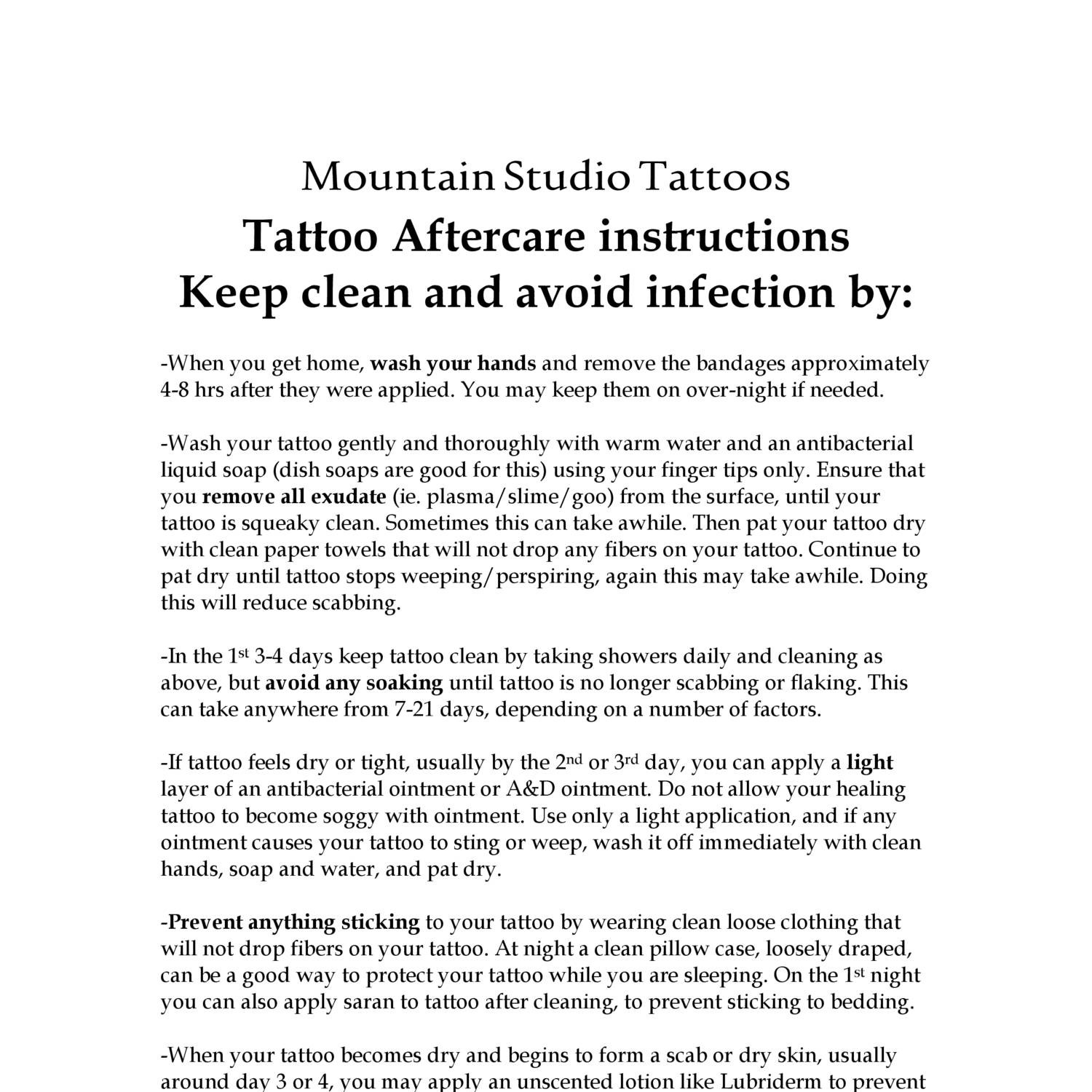 Mountain Studio Tattoos Aftercare Doc Docdroid