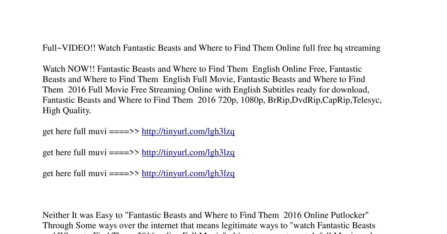 full watch fantastic beasts and where to find them full movie 2016