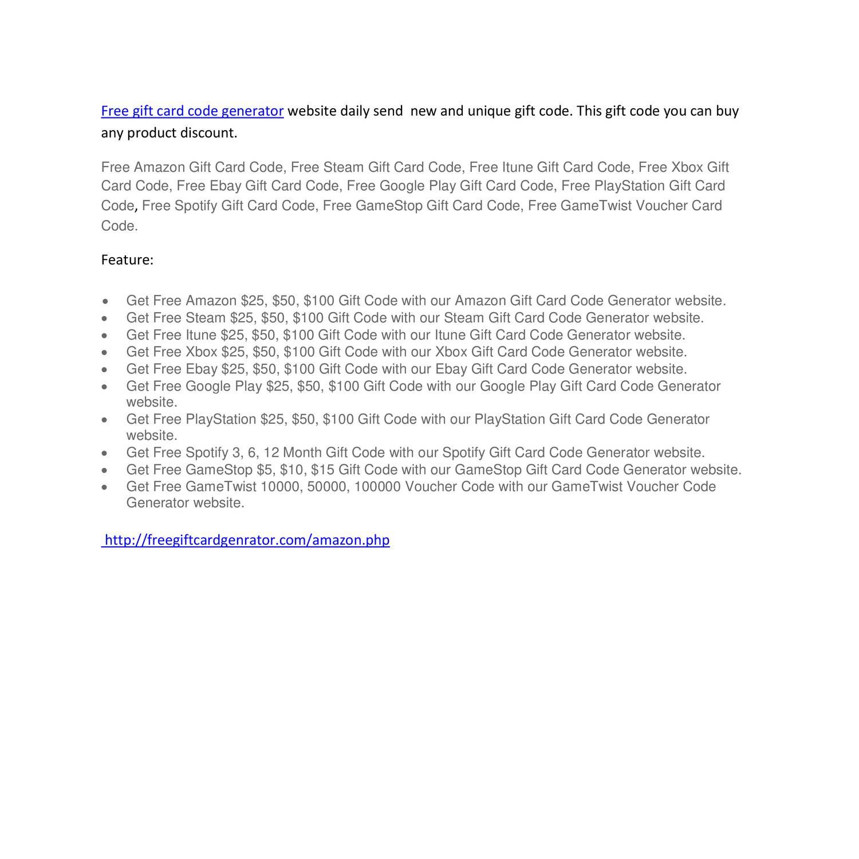 free gift card code generator pdf | DocDroid