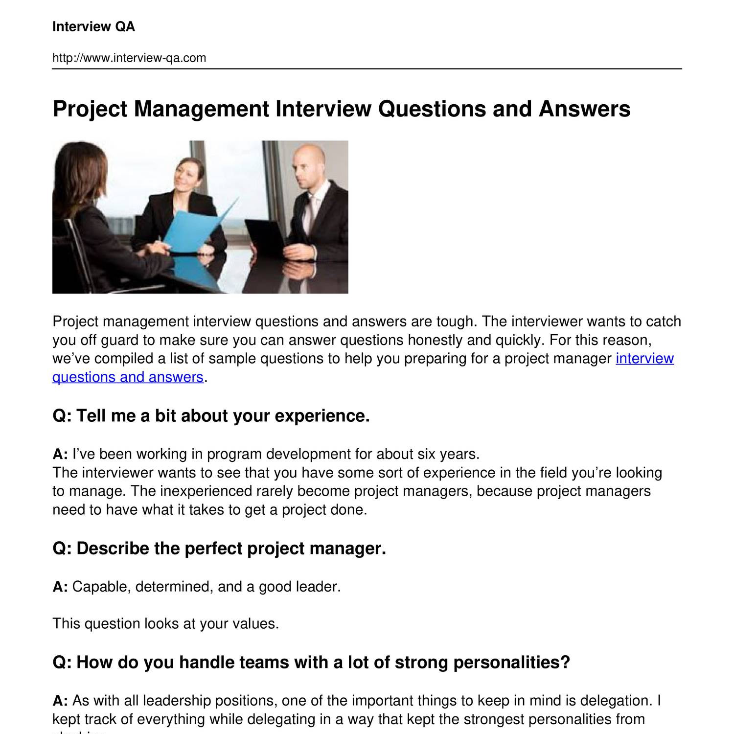 Project Management Interview Questions And Answerspdf Docdroid