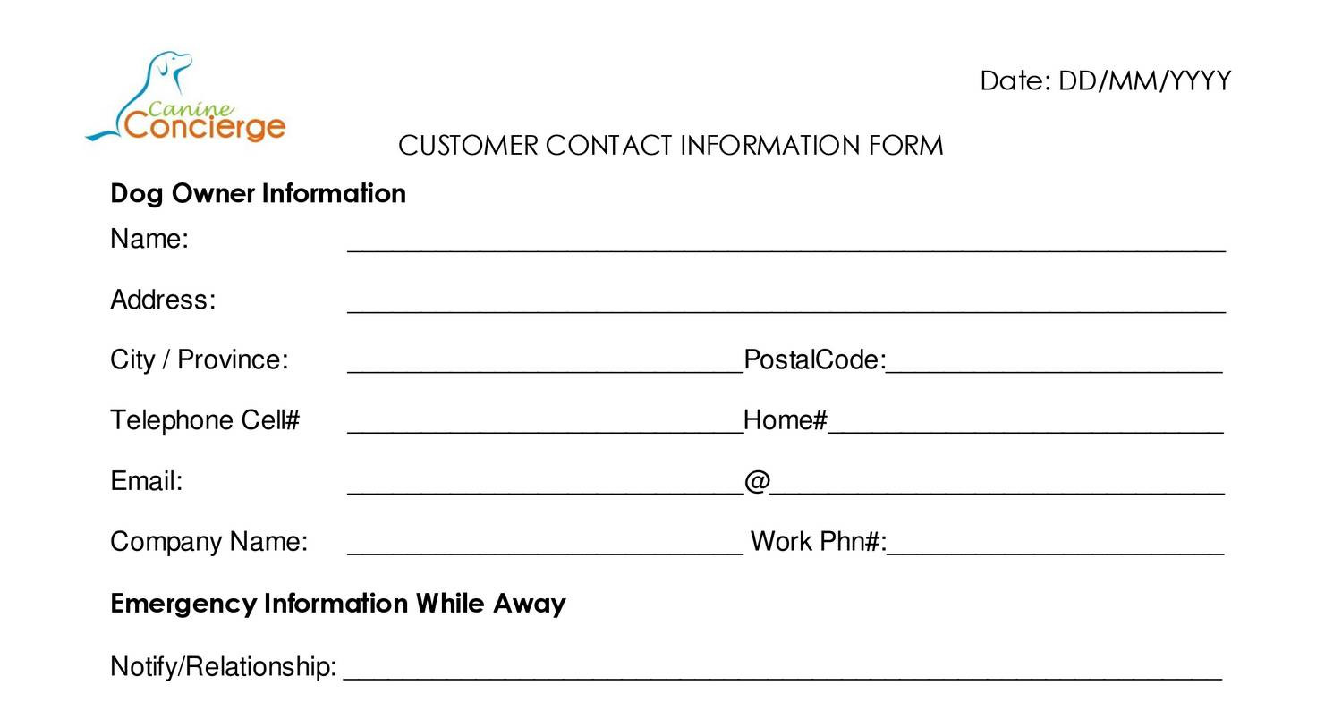 Contact information form for Update contact information form template