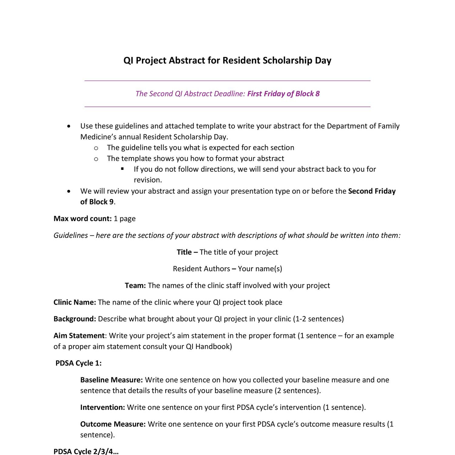 project abstract template