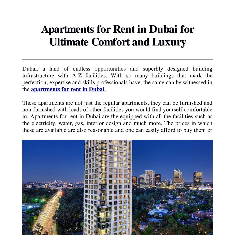 Cheap Apartments For Rent Dubai
