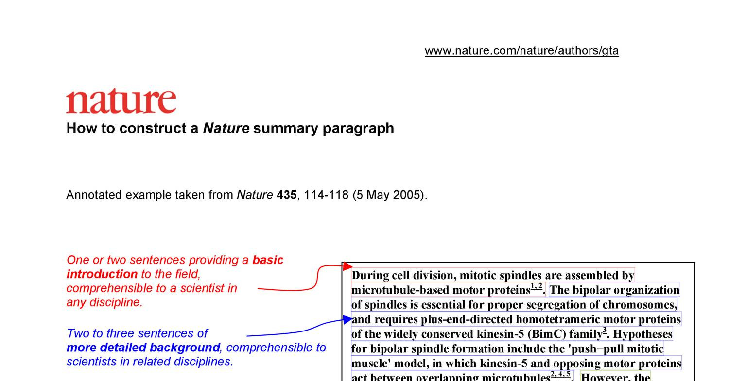 how to construct a nature summary paragraph