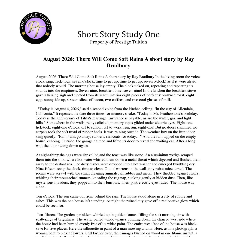 Year 10 Short Story Study Pdf Docdroid