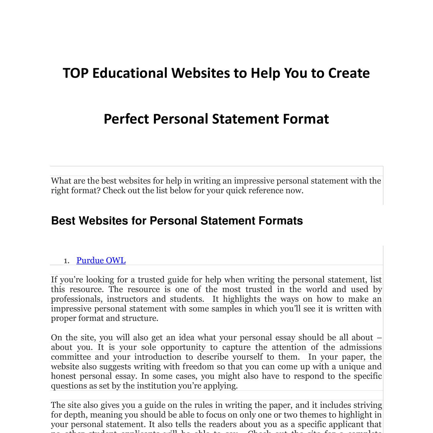 TOP Educational Websites to Help You to Create Perfect Personal