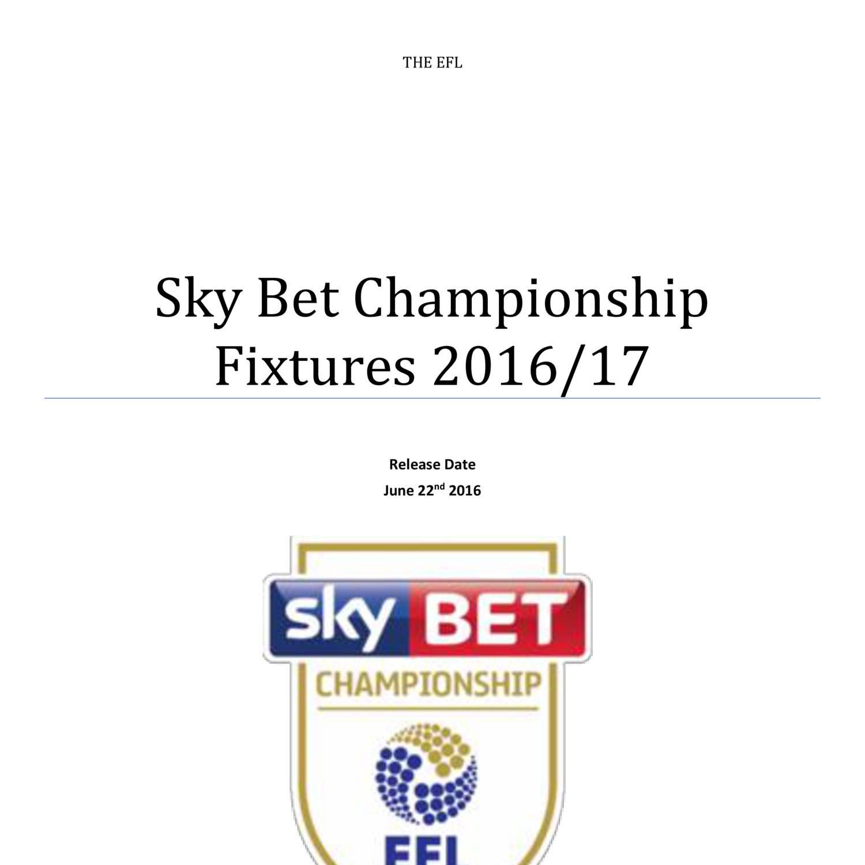 Championship Fixture List 2016-17 pdf | DocDroid