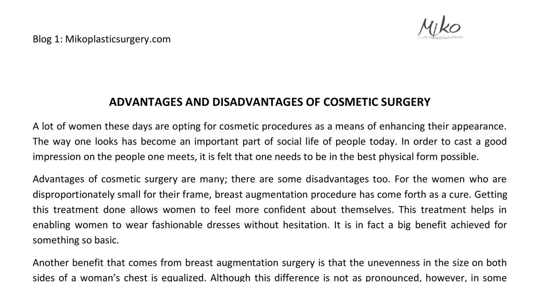 disadvantages of plastic surgery