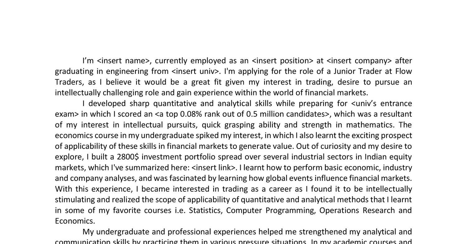 Flow Traders Cover Letter Rdocx Docdroid Junior Trader Cover Letter