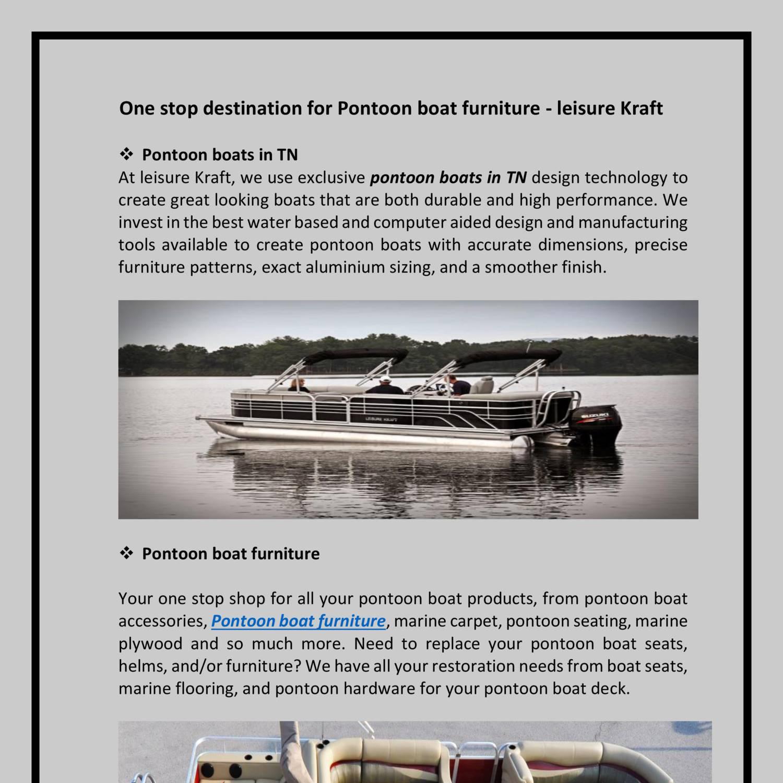 One stop destination for Pontoon boat furniture - leisure