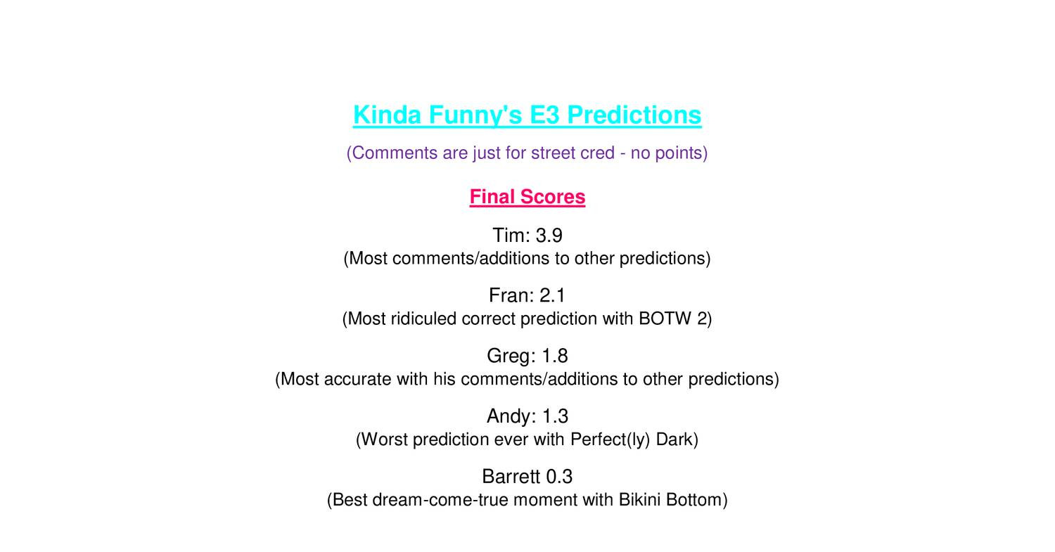 KF E3 Predictions by conference - scored pdf | DocDroid