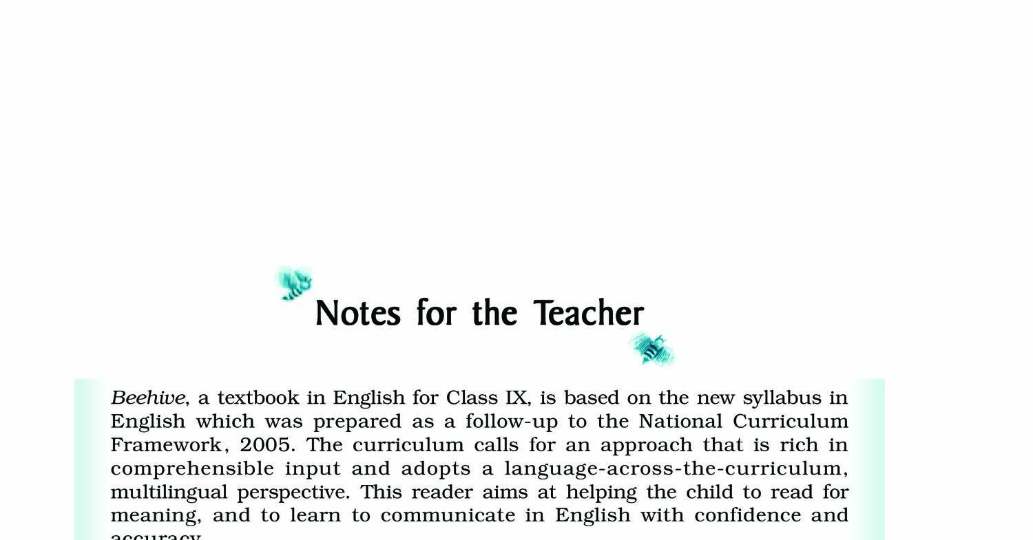 Download NCERT Book class 9-English-Beehive (Chapters) pdf