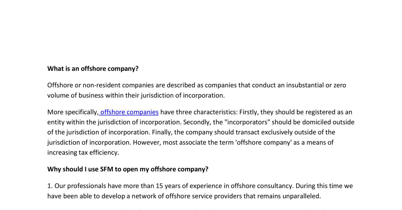 faqs regarding SFM offshore company formation pdf | DocDroid